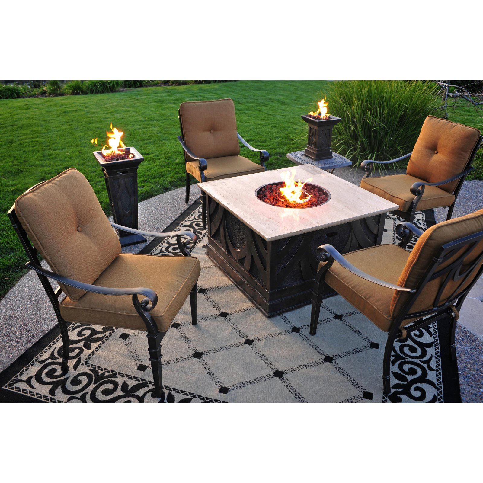 Fire Pit Table Living In Style - Outdoor furniture with gas fire pit table